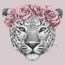 Portrait Of Leopard With Floral Head Wreath. Hand-drawn Illustration Of Dog. Vector Isolated Elements.