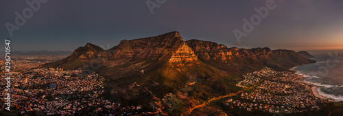 Cape Town night aerial view Canvas Print