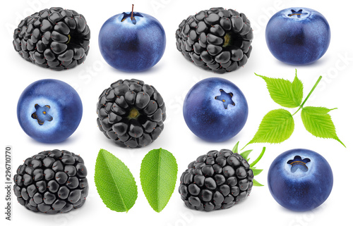 Poster Magasin alimentation Colourful collection of forest berries - blueberry and blackberry isolated on a white background with clipping path.