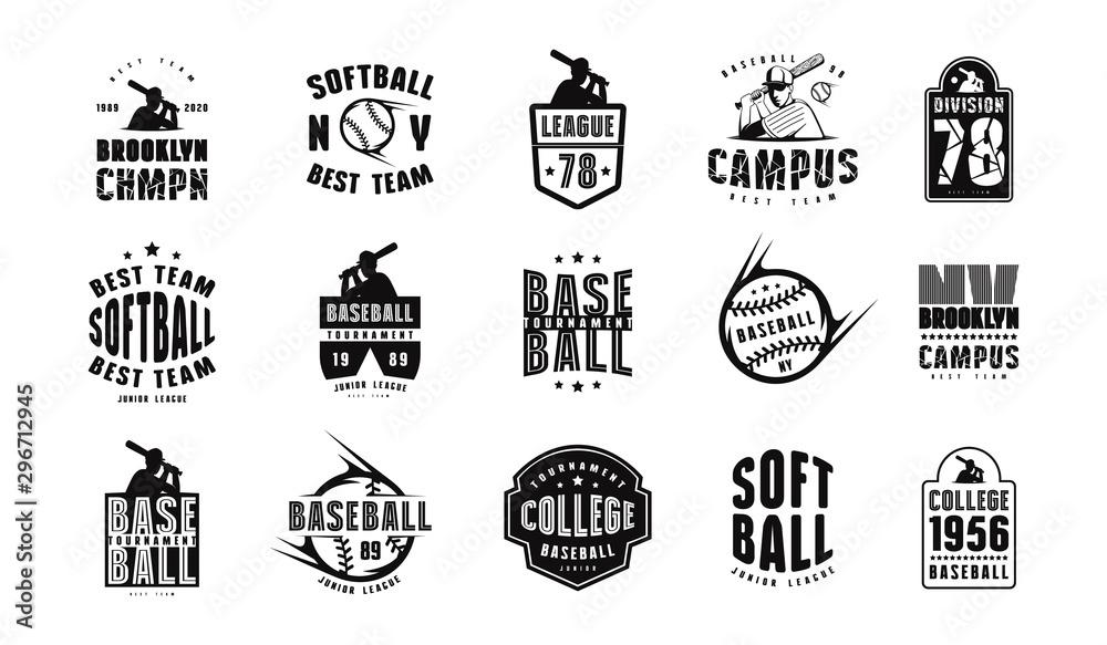 Fototapety, obrazy: Emblems and badges set of campus baseball team