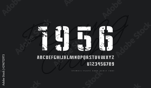 Fotomural Stencil-plate sans serif font in military style