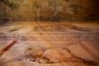 canvas print picture - Antike und historische Tempel Ruinen mit Säulen und Mauern auf Museum Insel Ausgrabungsstätte Delos in Griechenland im Ägäischen Meer mit Apollon Heiligtum