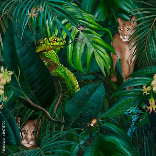 Photo  Dark jungle tropical trendy seamless pattern