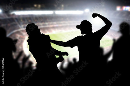 Fight in a football game crowd Wallpaper Mural