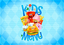 Kids Menu List Design Concept With Hot Dog, Burger, French Fries, Pizza, Donut, Ice Cream, Muffin And Drink As A Cartoon Personages