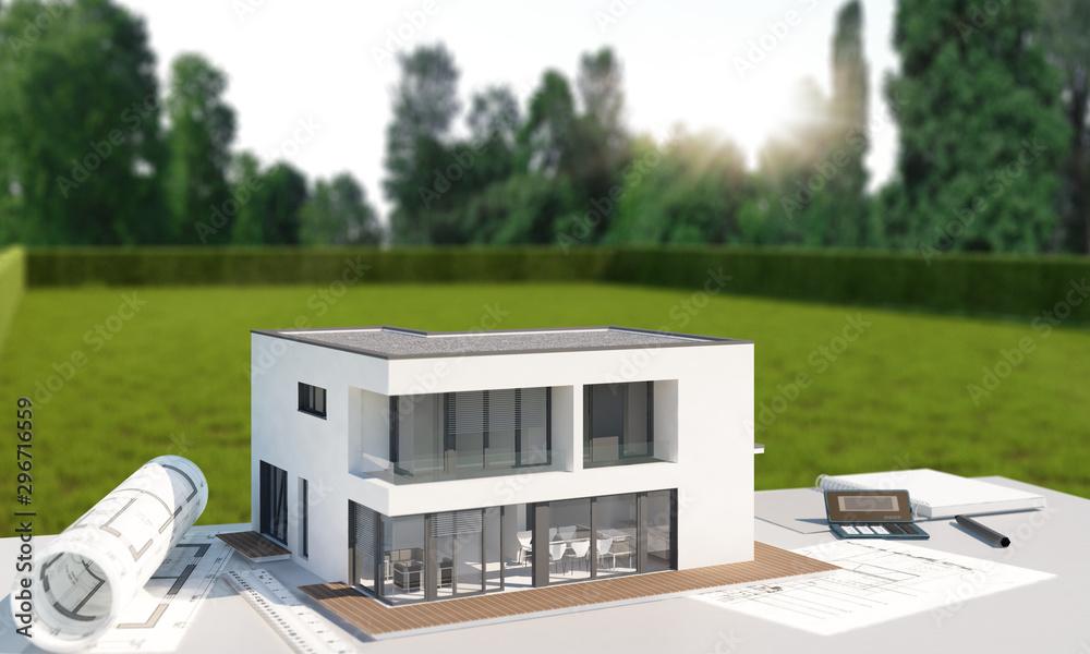 Fototapeta Hausplanung mit Grundstück