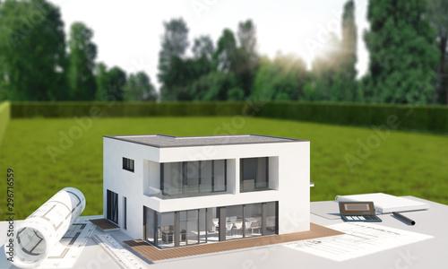 Fotografía Hausplanung mit Grundstück