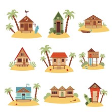 Set Of Different Beach Houses ...