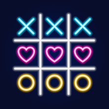 Tic Tac Toe Game, Linear Outline Icon. Neon Style. Light Decoration Icon.