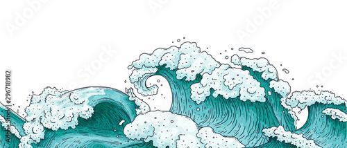 Fototapeta  Seamless horizontal border with ocean water waves cartoon vector illustration