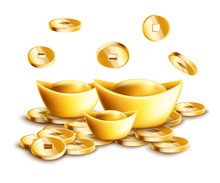 Chinese Gold Ingots And Falling Golden Coins Isolated On White Background.