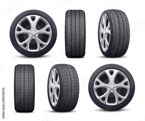 Automobile tires and wheels icons set realistic vector illustration isolated Fototapet