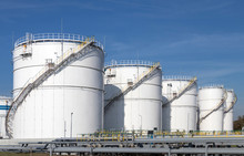 Oil Storage Tanks And Pipes At...