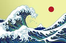 Big Asian Ocean Wave, Red Sun And The Mountain Illustration. Golden Color Tones. Ocean Of Kanagawa.