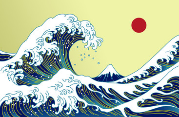 Big Asian ocean wave, red sun and the mountain illustration. Golden color ton...