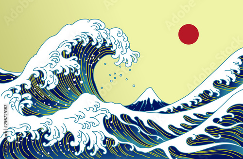 Photo  Big Asian ocean wave, red sun and the mountain illustration