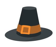 Vintage Pilgrim Hat Flat Vector Illustration