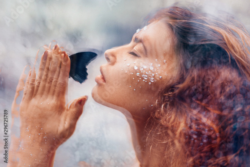 beautiful young woman with butterfly. conceptual. double exposure Poster Mural XXL