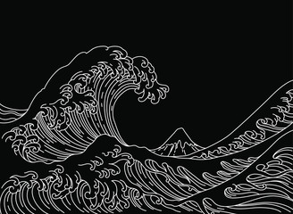 Big Asian ocean wave and th...