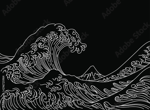 Photo  Big Asian ocean wave and the mountain illustration