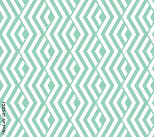 Foto auf Gartenposter Künstlich Abstract geometric pattern with stripes, lines. Seamless vector background. White and green ornament. Simple lattice graphic design