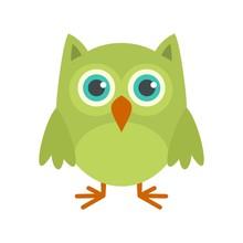 Nature Owl Icon. Flat Illustra...