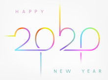 2020 New Year Greeting Card. Vector Brochure Design Template, Banner With Neon Colorful Lines Design.