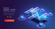 Programming and software development web page banner, program code on screen device. Software development coding process concept. Programming, testing cross platform code, app on phone, UI/UX