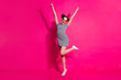 canvas print picture - Full length body size view of her she nice attractive lovely cheerful cheery girl dancing having fun rising hands up isolated over bright vivid shine vibrant pink fuchsia color background