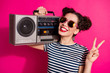 canvas print picture - Close-up portrait of her she nice attractive lovely charming cute cheerful cheery girl showing v-sign carrying boombox isolated over bright vivid shine vibrant pink fuchsia color background