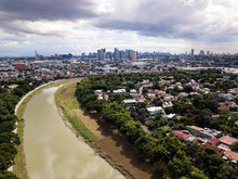 Scenic Drone Aerial Picture Of The Marikina River And The Skyline Of Eastwood City In Metro Manila, Philippines