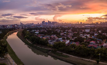 Scenic Drone Aerial Picture Of The Marikina River And The Skyline Of Eastwood City During Sunset In Metro Manila, Philippines