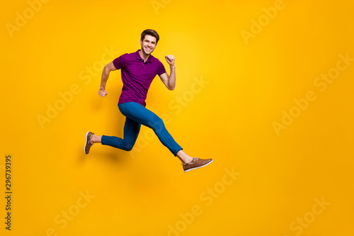 Full length body size phoo of cheerful brown haired attractive man wearing blue Canvas Print