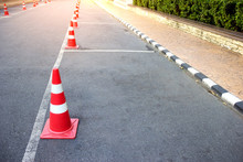 Traffic Cone With Lines Parking On Asphalt