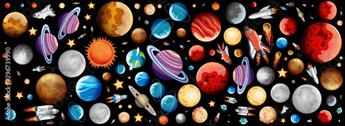 Background design with many planets in space