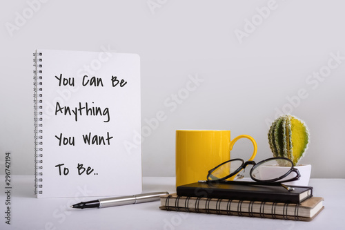 Photo sur Toile Positive Typography Spiral Notebook With Inspirational and Motivational Wisdom Quote.