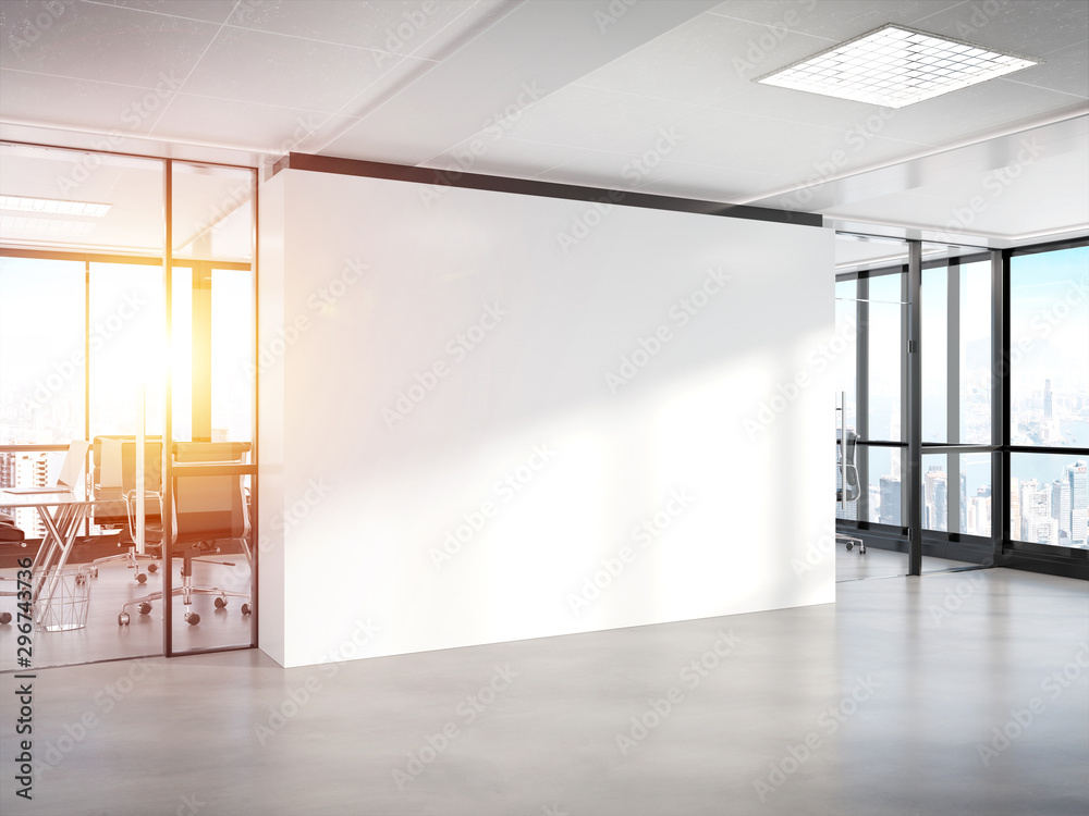 Fototapeta Blank white wall in concrete office with large windows Mockup 3D rendering