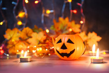 Halloween Background Candlelight Orange Decorated Holidays Festive Concept - Funny Faces Jack O Lantern Pumpkin Halloween Decorations For Party Accessories Object With Candle Light Bokeh