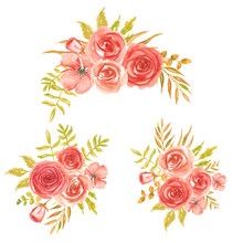 Set Of Watercolor Flower Red Bouquet. The Composition Of Red Flowers Is Hand-painted Isolated On A White Background.