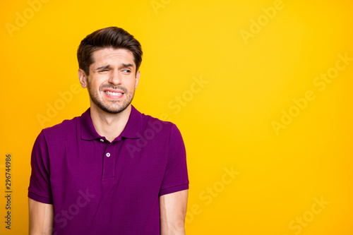 Fotografija Close-up portrait of his he nice attractive sad uncertain puzzled guy wearing li