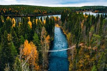 Aerial View Of River With Suspension Bridge In Colorful Autumn Forest In Finland.
