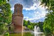 canvas print picture - Teich und Turm in einem Stadtpark in Nijmegen