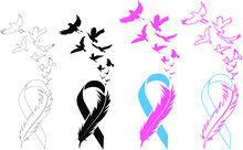 Awareness Ribbon - Cancer Ribbon Feather And Birds