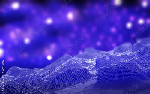 Fotobehang Violet 3D wireframe landscape on defocussed background