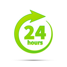 24 Hours Service, Bright Green Simple Icon On White