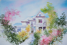 Watercolor Painting Of A House...