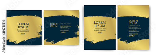 Obraz Templates with blue and gold designs. Blue and gold strokes. - fototapety do salonu
