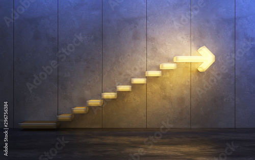 Fotomural stairs going  upward, 3d rendering