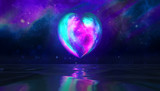 heart planet moon sea water reflection in space blue purple background with nebula and stars
