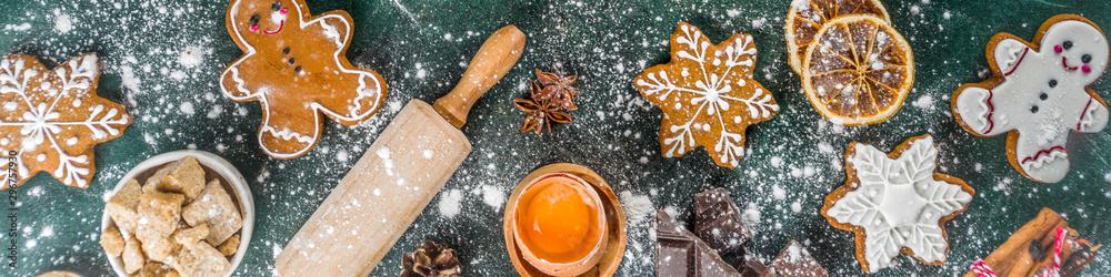 Fototapety, obrazy: Christmas, New Year cooking background. Baking ingredients and utensils - flour, rolling pin, gingerbread, milk, eggs. Making festive Christmas sweet cookies. Top view copy space